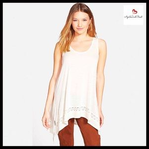 ❌SOLD❌HI-LO SWING TUNIC IVORY TANK TOP TEE